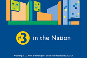 Graphic depicting #3 in the Nation According to U.S. News & World Report's annual Best Hospitals list 2020-2021