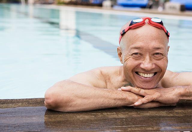 man at a pool
