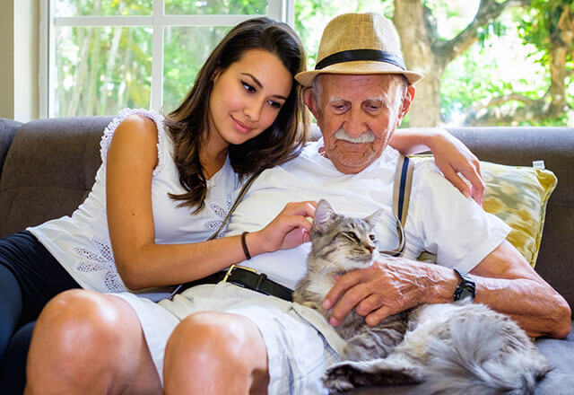 woman with grandfather
