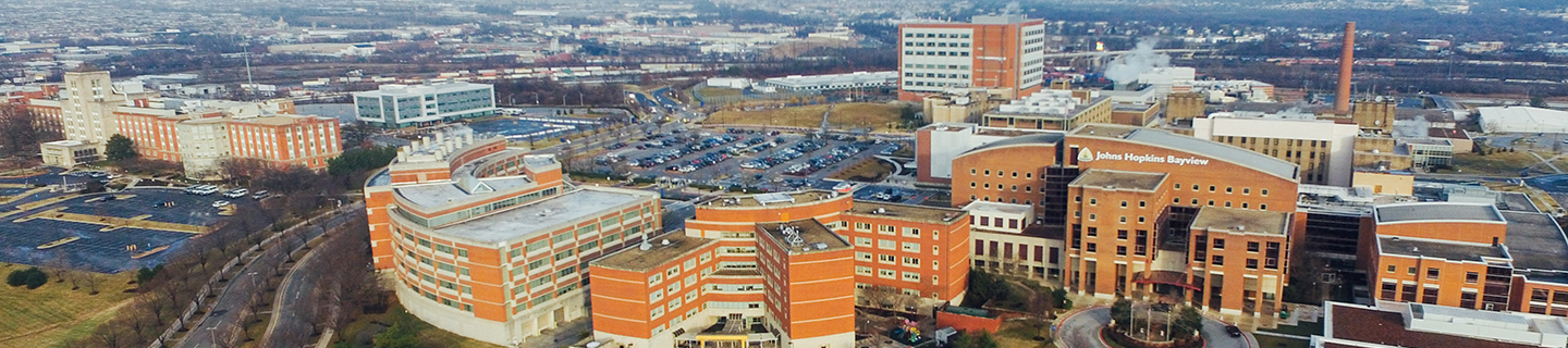 breast care - aerial view of Johns Hopkins Bayview medical campus