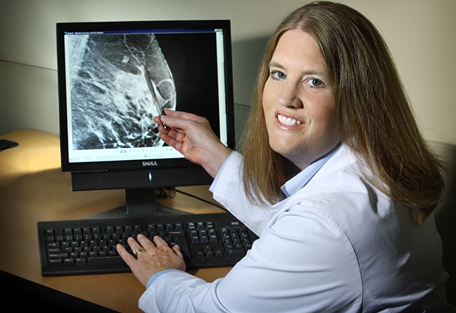 breast care - Dr. Lisa Jacobs looking at breast scan