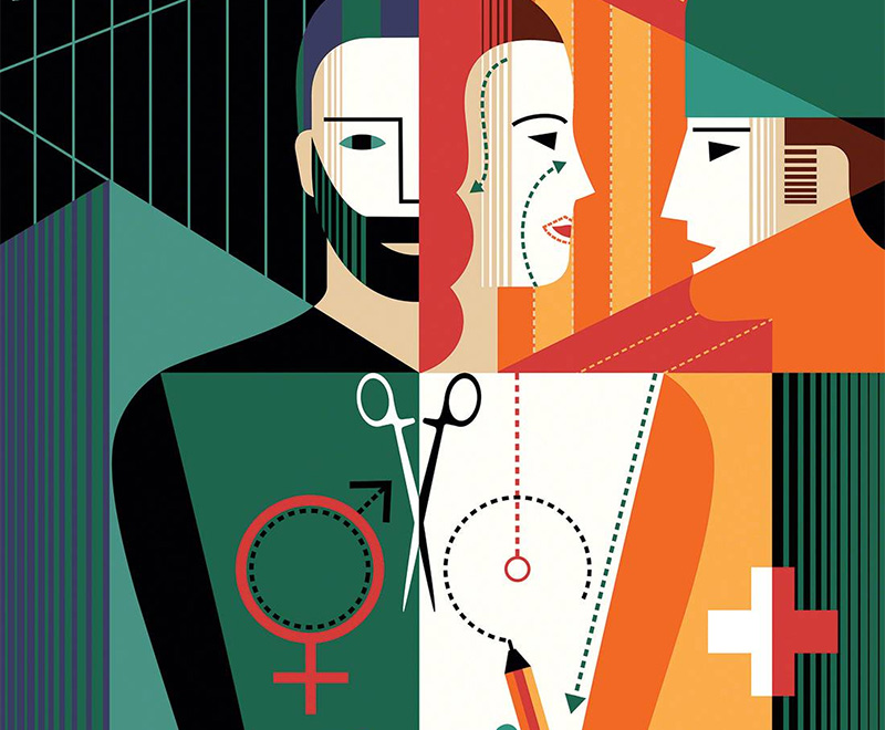 Conceptual illustration of a doctor talking to a transgender patient