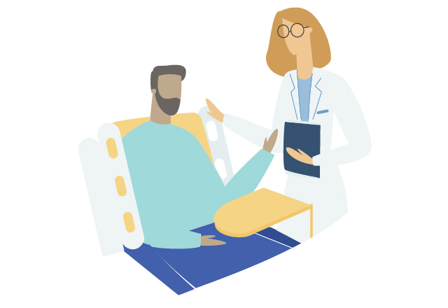 An illustration of a doctor speaking to a patient at their bedside.
