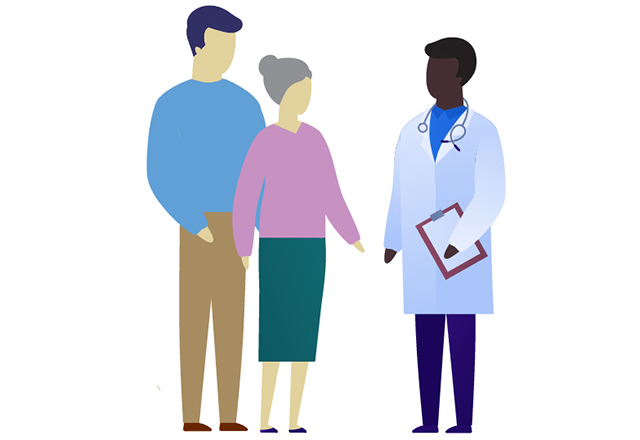 An illustration of two adults speaking with a doctor.