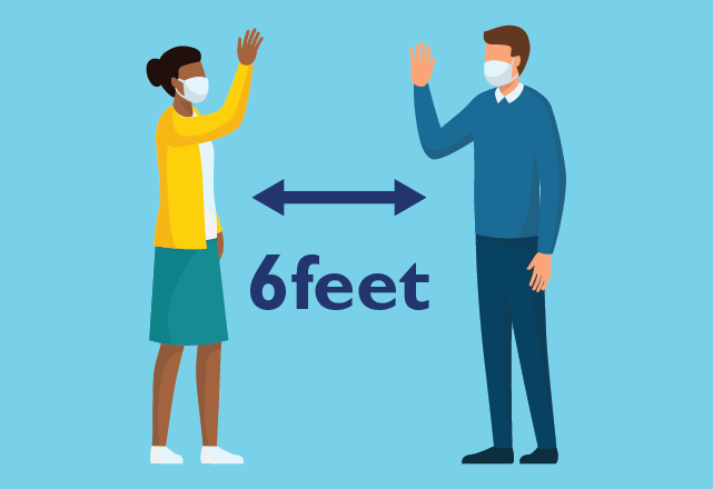 Two people wave to each other from six feet apart.