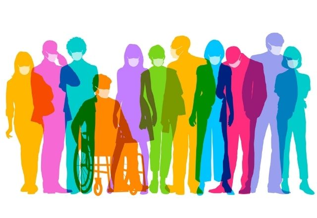 graphic of people in rainbow colors