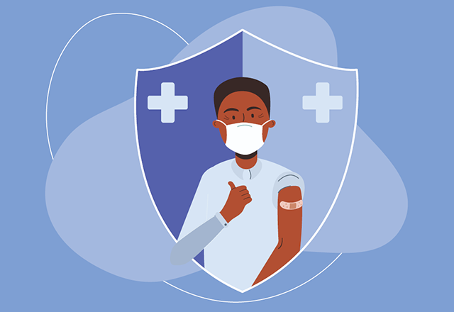 graphic of man with thumbs and bandaid on arm