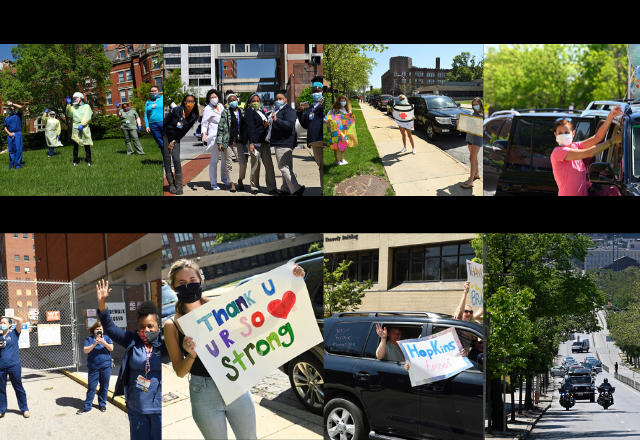 collage images of parade for healthcare workers