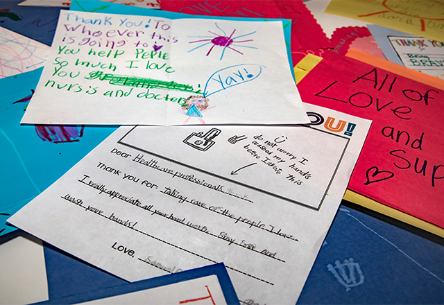Handwritten cards from the community to staff