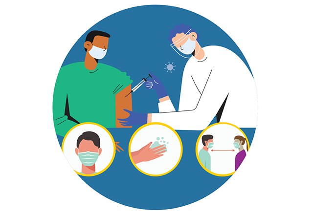 An illustration of a patient receiving a vaccine from a medical professional.
