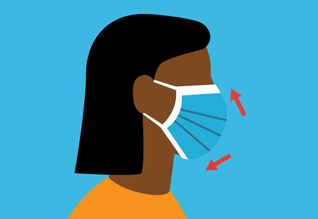 an illustration of a woman properly wearing a mask