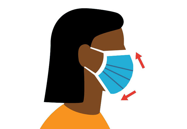 illustration of a woman properly wearing a mask