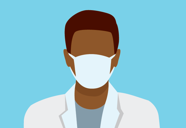An illustration of a doctor wearing a mask.