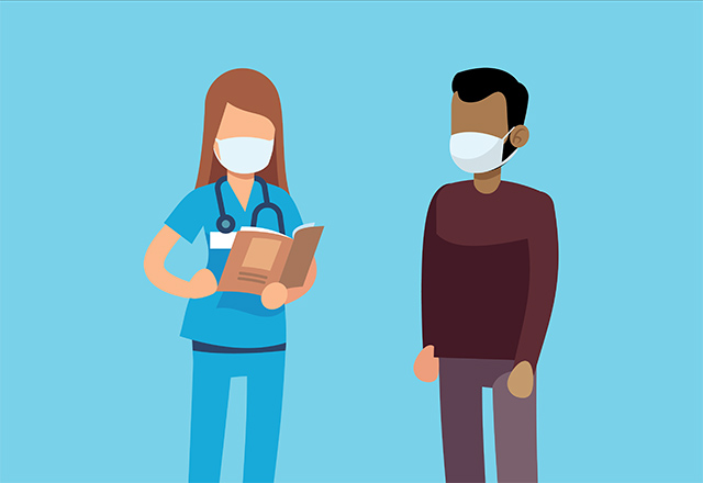 An illustration of a nurse and a patient standing together, wearing masks.