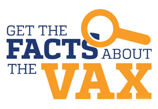 Get the facts about the vax with magnifying glass logo