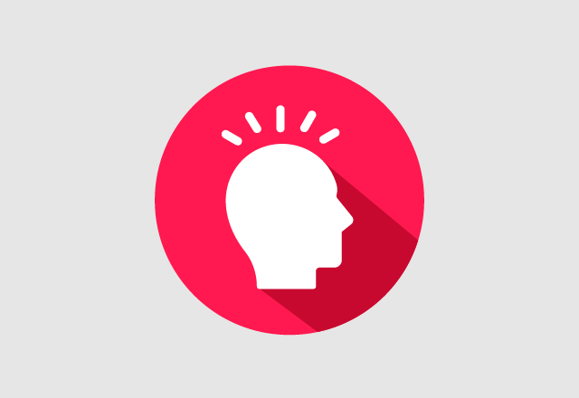 An illustration of a person's head in silhouette against a red background.