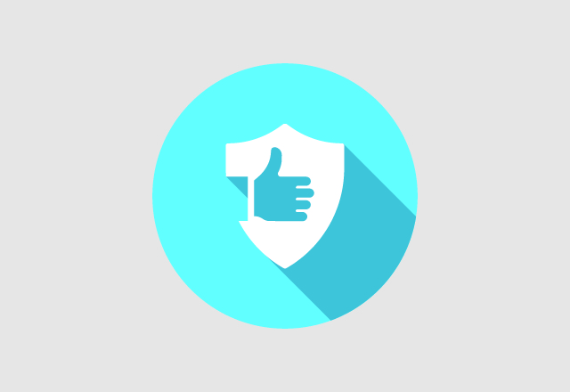 An illustration of a shield with a hand giving a thumbs up gesture on it, against a bright blue background.
