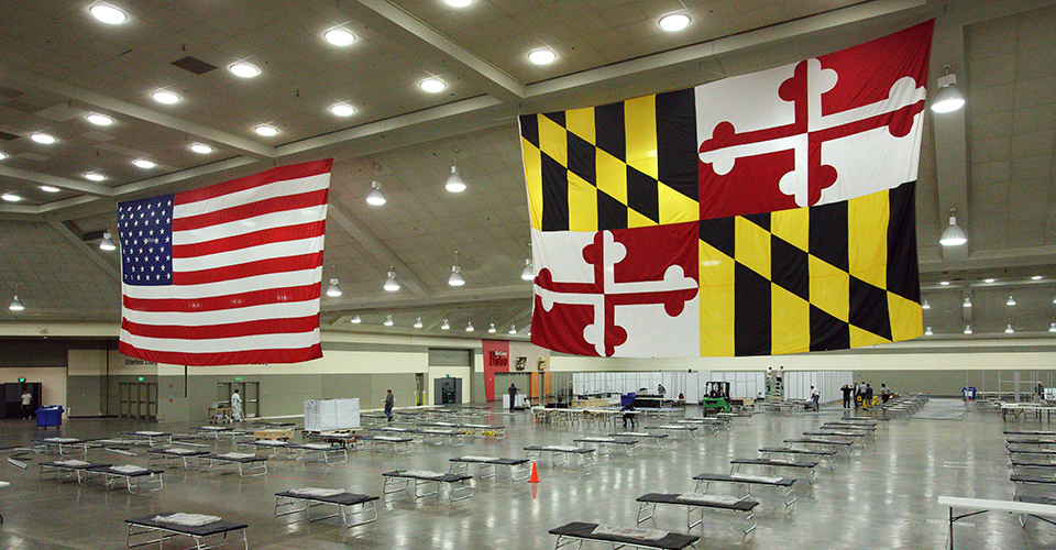 Maryland State and U.S Flag hanged in the Baltimore Convention Center Field Hospital.