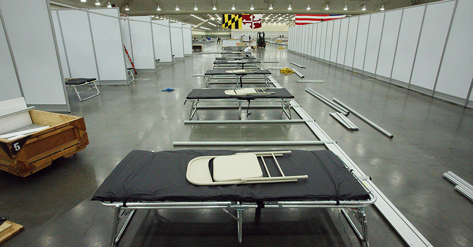 Patient beds inside the Baltimore Convention Center Field Hospital.