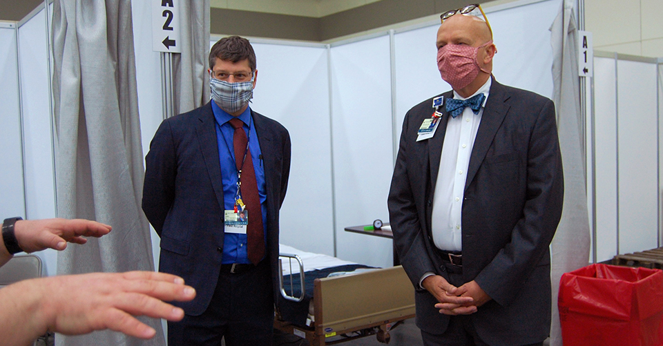 Efron and Sowers inside the Baltimore Convention Center Field Hospital.