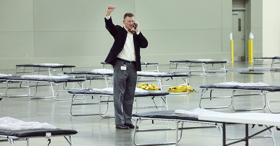 Eric Howell inside the Baltimore Convention Center Field Hospital.