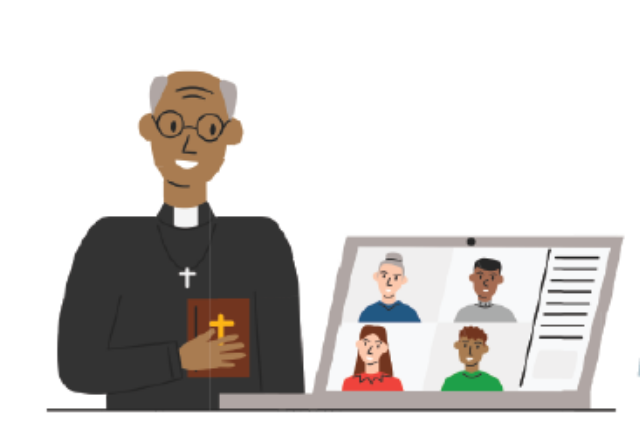 graphic of a priest and a zoom
