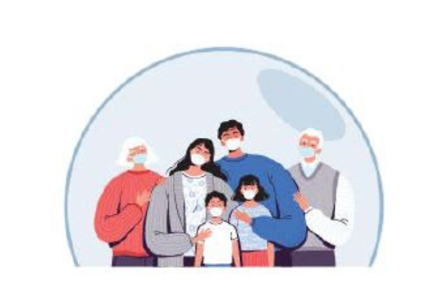 family in a bubble graphic