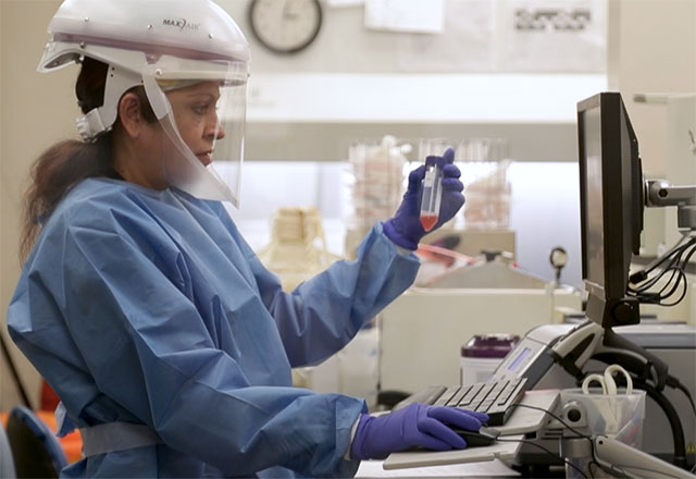 a researcher holds a sample while entering info into a computer
