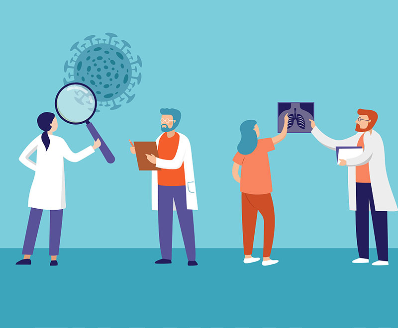 an illustration of scientists and doctors working to treat COVID-19