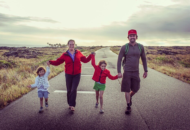 family hikes together