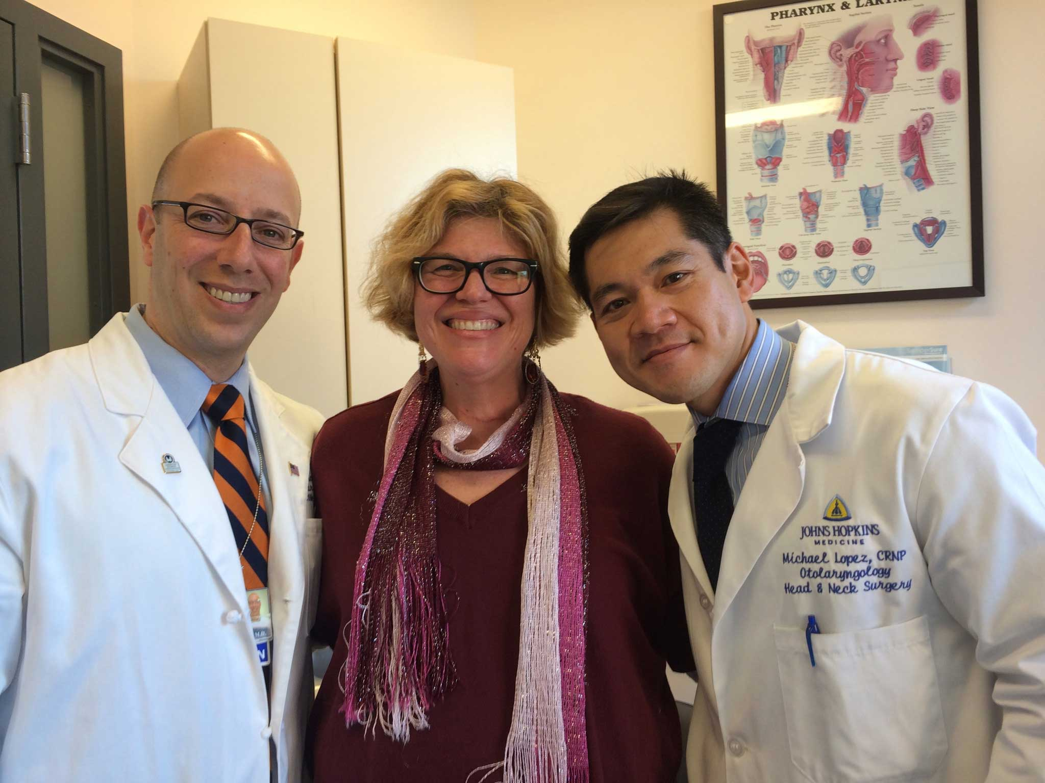Dr. Tufano and Dr. Lopez with patient Roberta Perry
