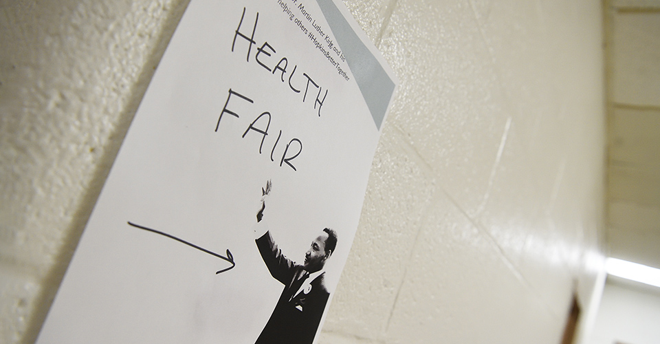 A sign directs attendees to the health fair.