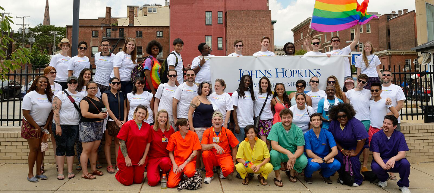 a group of Hopkins employees at the pride parade