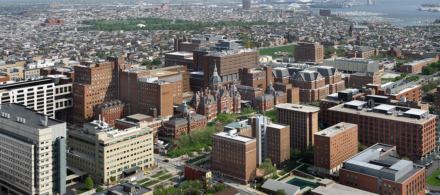 An aerial view of the East Baltimore campus.