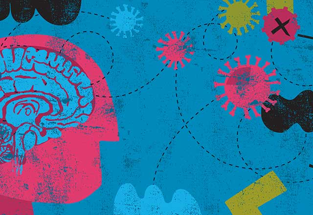Illustration of a brain with virus icons coming at it.