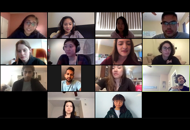 Zoom call with students and faculty