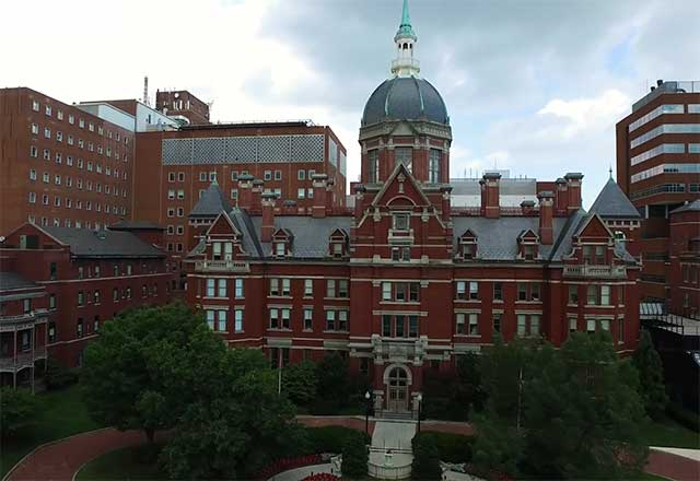 Outside view of the Johns Hopkins Hospital campus.