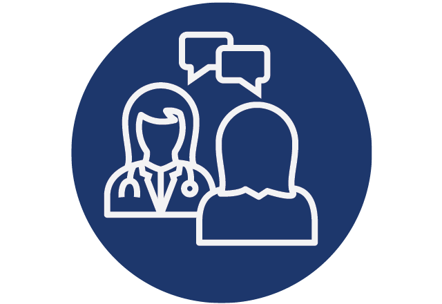 Icon of doctor and patient hugging