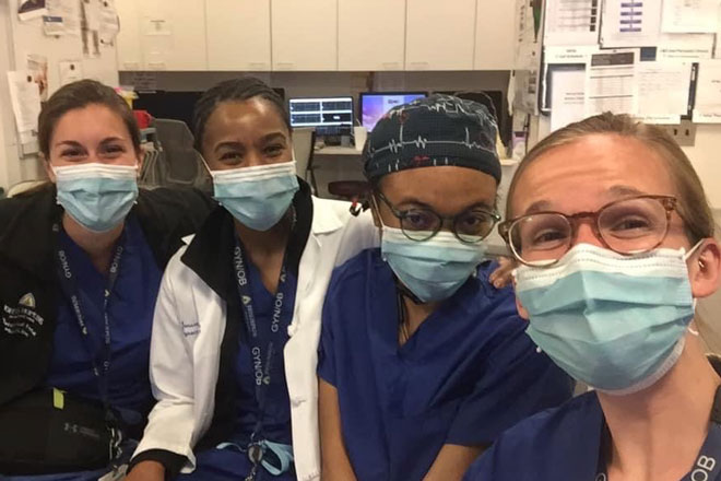 Gyn/Ob residents take a selfie during a break from clinical training