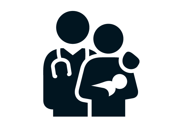 Doctor holding mother and baby icon
