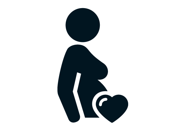 Icon on pregnant mother with heart on belly