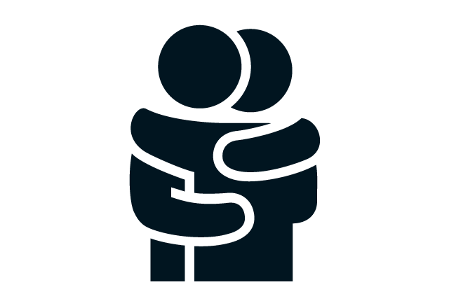 Two people hugging icon