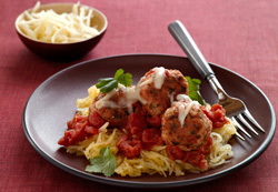 Spaghetti squash and turkey meatballs