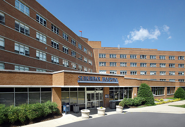 suburban hospital exterior - heart and vascular institute