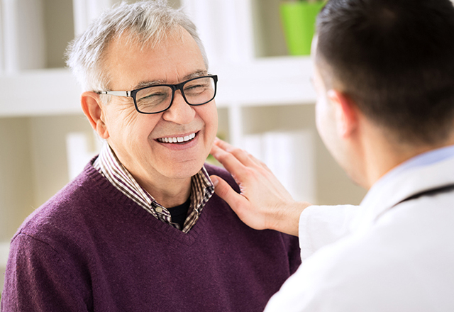 ventricular assist devices - man smiling at doctor