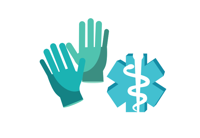 gloves and medical symbol icon graphic