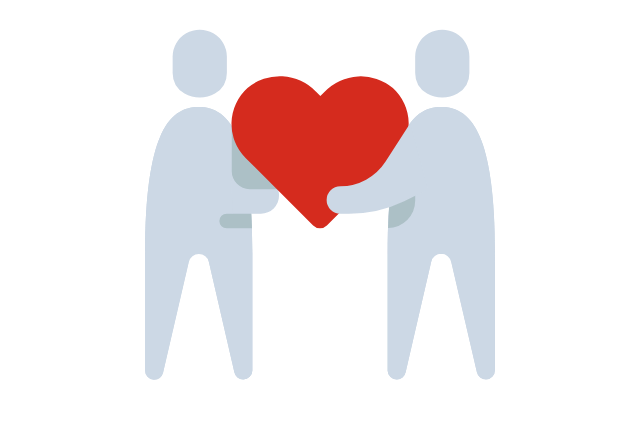 two people holding a heart icon graphic