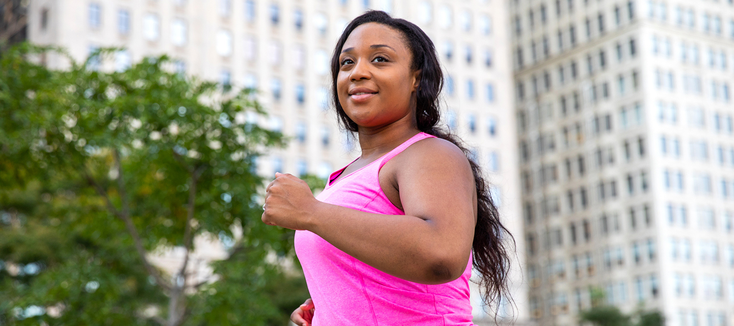 cardiac sarcoidosis - young woman running in a city park