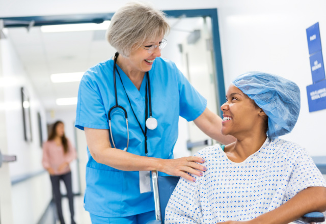 nurse with patient - heart and vascular institute