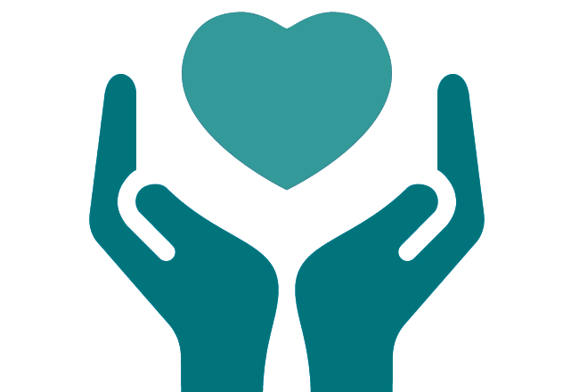 hands holding a heart icon in teal